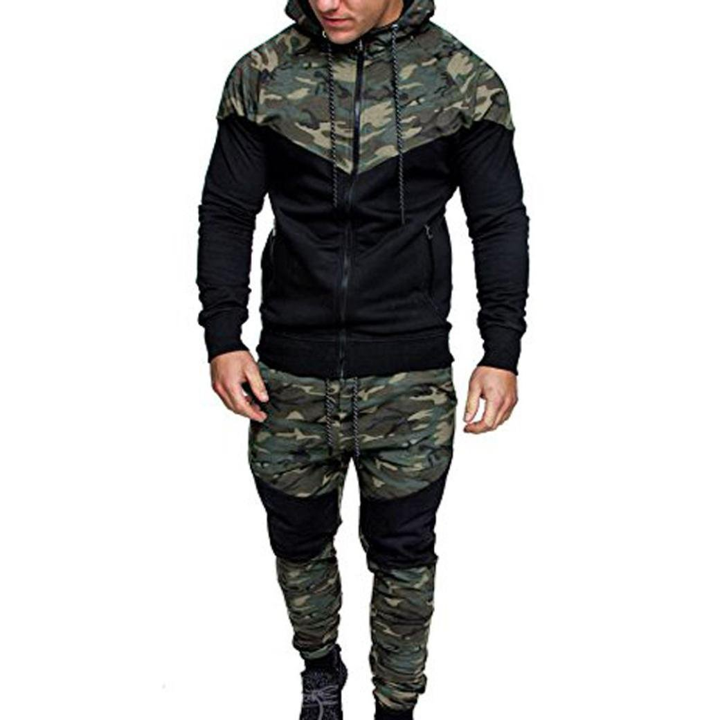 haoricu Men Sport Suit, Clearance Autumn Winter Men's Camouflage Sweatshirt Top Pants Sets Fitness Sports Hoodie Sweatpants Suit Tracksuit (L, Camouflage)