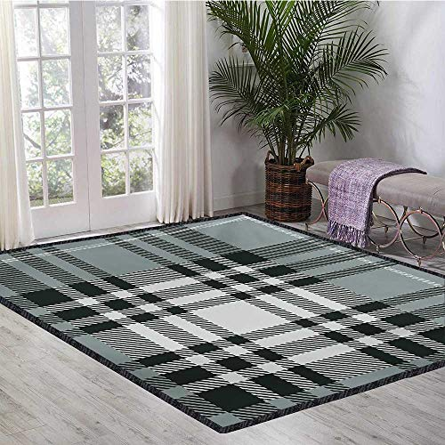 Checkered, Area Rug Modern, Old Fashioned Plaid Tartan in Dark Colors Classic English Tile Symmetrical, Door Mats for Inside Non Slip Backing 6x8 Ft Grey Black White