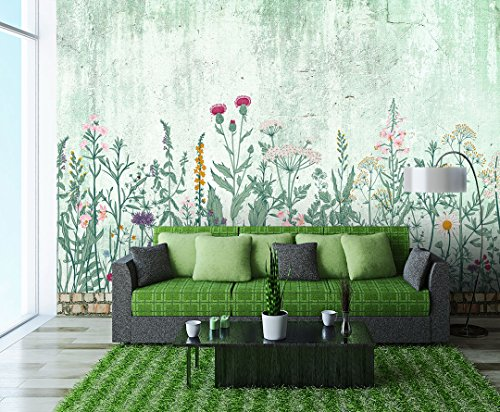 Large Wall Mural Retro Style Flowers and Plants of Various Colors with Vintage Wall Background Vinyl Wallpaper Removable Wall Decor