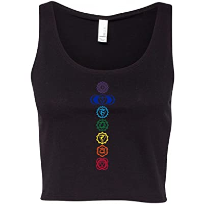 Yoga Clothing For You Ladies Colored Chakras Crop Tank Top Tee