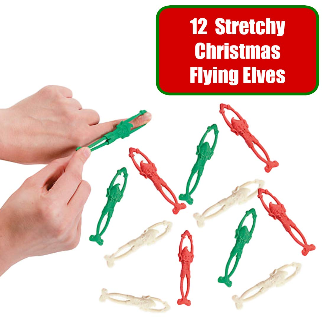 Rubber Stretchy Flying Elves Pack of 8 Christmas Stocking Fillers