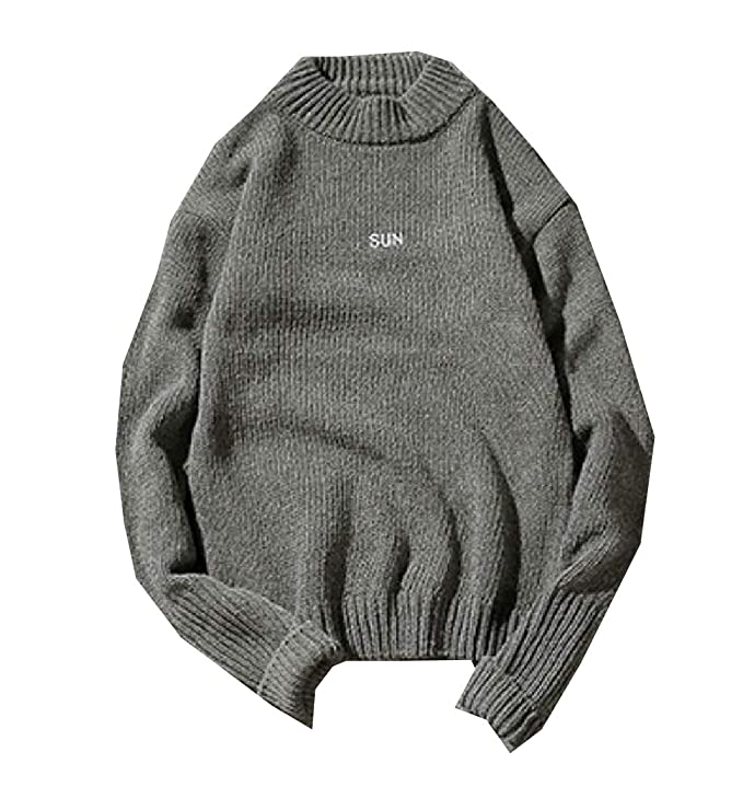 YUNY Mens Warm Thicken Embroidered Vogue Fall Winter Pullover Sweater Black S