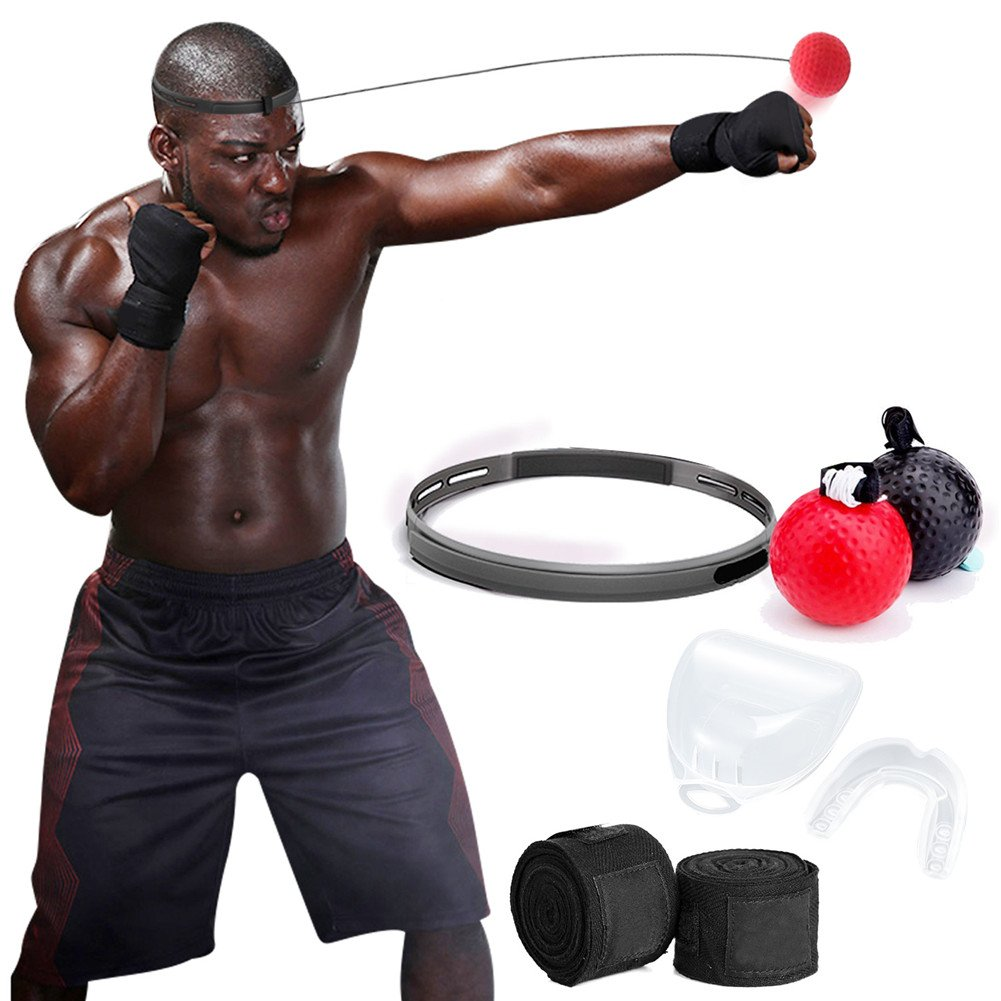 PUBA Boxing Reflex Ball Fight Ball 2 Level Boxing Ball with Headband Bandage and Braces Perfect for Boxing Focus Hand Eye Coordination Training Kids and Adults Fitness Gym