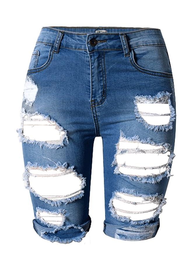 Amazon.com: Tribear pantalones vaqueros cortos casuales de ...