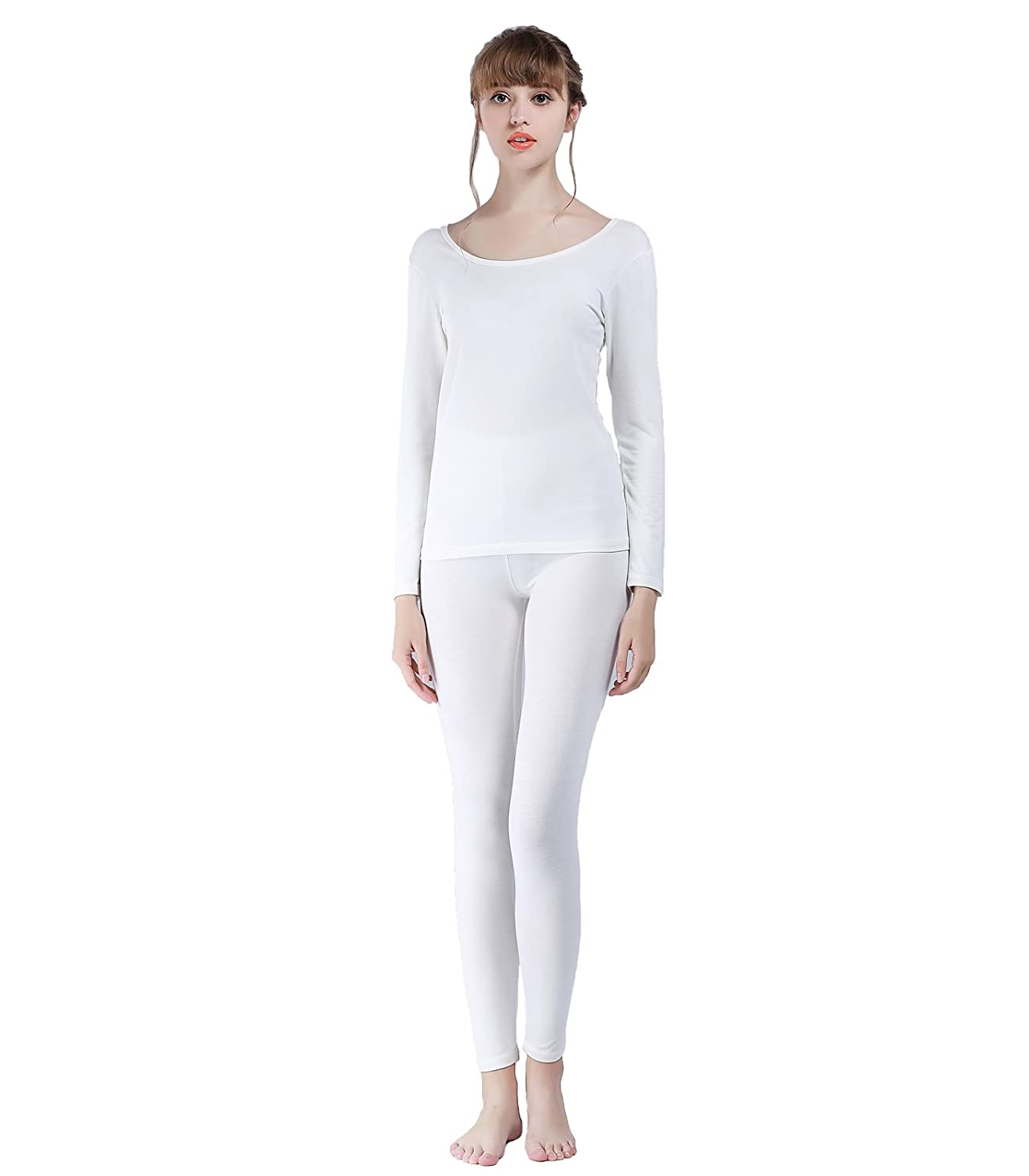 Liang Rou Women's Scoop Neck Thin Thermal Underwear Long Johns Set MS560-P