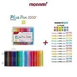 Monami PlusPen 3000 36 Colors Set/Essenti Soft Pastel 12 Colors Highlighter Pen(Bundle) (Color: 36Colors, Tamaño: 8.2x7.0x1.9 in)