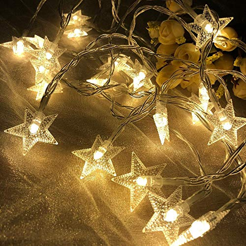 Jisener Star String Lights,Battery Powered Twinkle Lights, Decorations with 50 pcs LED Indoor Fairy Lights Warm White, Ideal for Patio Wedding Bedroom Princess Castle Play Tents