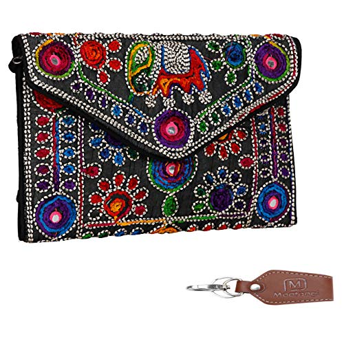 Black Women Banjara Clutch Bag in Rajasthani Style Magnetic Closure Foldover Clutch Purse with keychain
