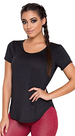 f12b4daa1 Yandy Oversize Loose Bodice Layering Short Sleeve Black Athletic Long Tail  Shirt at Amazon Women's Clothing store: