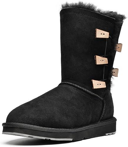 AUMU Womens Buttons Mid Calf Sheepskin Winter Boots