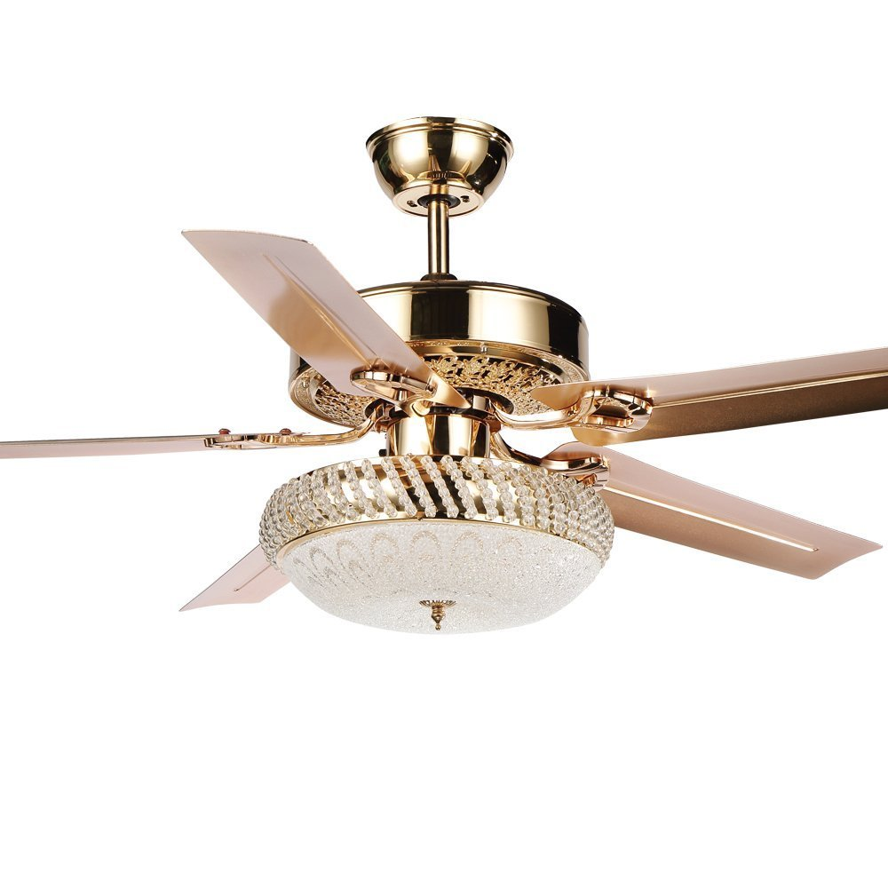 Tropical Metal Silent Ceiling Fan With Remote 1 Glass Cover Decorative Home Living Room Fans Chandelier 5 Reversible Blade Rose Gold 52 inch (LED Lights)