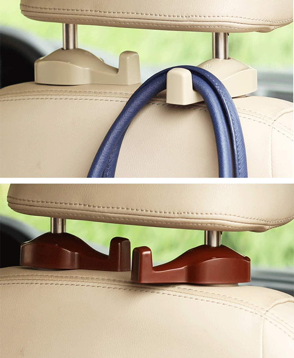 Emoly Upgraded Universal 4 Pack Car Seat Headrest Hooks Strong and Durable Backseat Headrest Hanger Storage for Handbags Beige Purses Coats and Grocery Bags