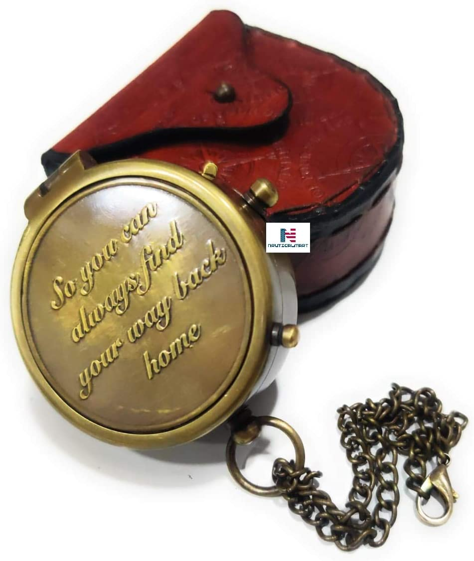 NauticalMart So You can Always find Your Way Back Home Brass Compass with Case, Gift to Boyfriend/Husband/Son