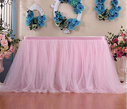 Amazon Com Voberry Tutu Table Skirt Cover Tulle Tableware