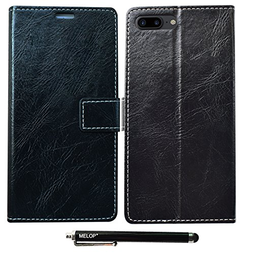 iPhone 8 Plus case, iPhone 7 Plus case, MELOP Retro PU Leather Wallet Magnet Flip Case Cover with Credit ID Cards Slots for Apple iPhone 7plus 8plus - Black