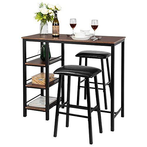 Bonnlo 3-Piece Dining Set Pub Table Set for 2, Counter Height Dining Table Set Kitchen Dining Table with 2 Upholstered Stools 3 Open Storage Shelves Walnut