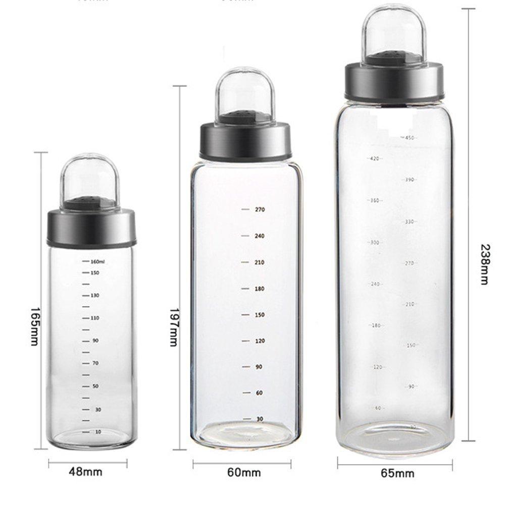 Aceite de oliva y dispensador de vinagre - Botellas de cristal transparente para cocinar sin goteo - Botella dispensadora de aceites de cocina D-300ml: ...