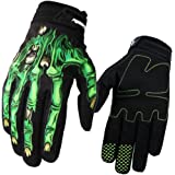 Herebuy8 Full Finger Breathable Skeleton Pattern Cycling Motorcycle Gloves Bike Gloves Bicycle Gloves Biking Gloves for Men/Women with Shock-absorbing Gel Pad