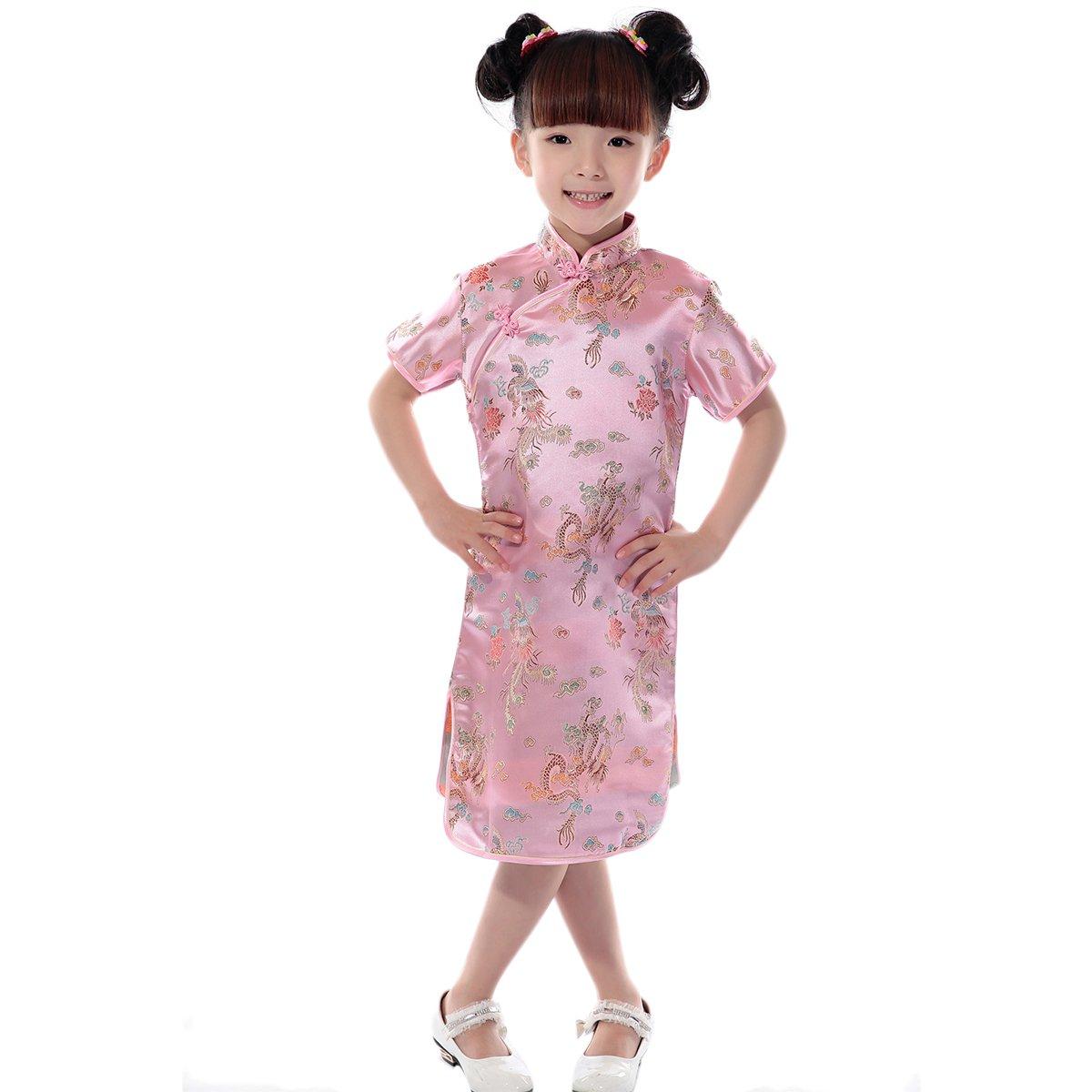 df396bfdb Amazon.com: Little Big Girl Chinese Dragon Phoenix Qipao Cheongsam Dress  for Kids Floral Summer Mini Traditional Costume Dance Gown: Clothing