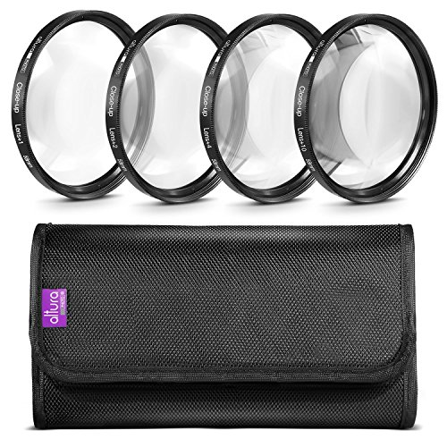 Altura Photo 58MM +1 +2 +4 +10 Close Up Macro Lens Set with Filter Pouch for Nikon Canon Sony Pentax Olympus Cameras (Macro Filter 58mm)