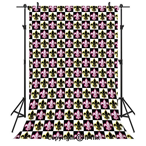 - Fleur De Lis Photography Backdrops,Antique Classical Foliage Leaf Motifs with Pop Art Influences Checkered Design,Birthday Party Seamless Photo Studio Booth Background Banner 5x7ft,Multicolor