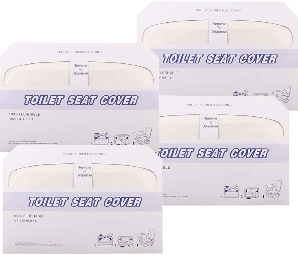 Disposable Toilet Seat Covers Portable Flushable Universal Potty Shields White 4 Pack of 250