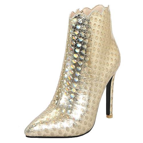 006641a2662 Ye Mujer Ankle Boots Stiletto High Heels Punta Botines Purpurina Cremallera  Boot Otoño Invierno Corta Botas Elegante Schön Guantes, Color Dorado, ...