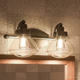 Luxury Transitional Bathroom Vanity Light, Medium Size: 8''H x 17.75''W, with Rustic Style Elements, Oil Rubbed Parisian Bronze Finish and Seeded Schoolhouse Glass, UQL2651 by Urban Ambiance