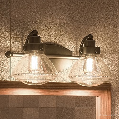 Luxury Transitional Bathroom Vanity Light, Medium Size: 8''H x 17.75''W, with Rustic Style Elements, Oil Rubbed Parisian Bronze Finish and Seeded Schoolhouse Glass, UQL2651 by Urban Ambiance by Urban Ambiance
