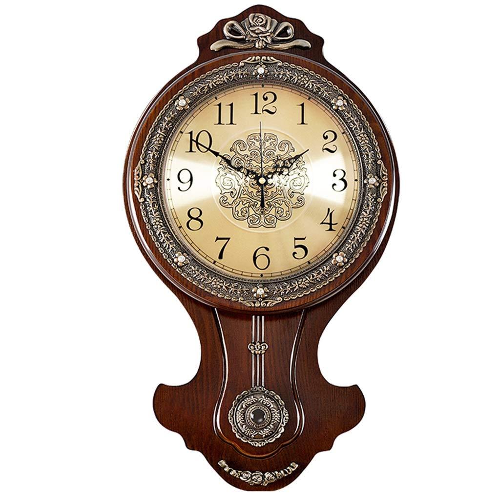 &掛け時計 壁掛け時計バッテリー駆動サイレントノンティック装飾リビングルームの装飾寝室ヴィンテージヨーロッパレトロウッドピュア銅クォーツ時計 &ホームクロック (色 : B)  B B07QSQQMP9