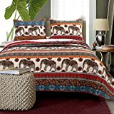 Blue, Red, Green, Purple and Orange Cotton with Reversible, 3-Piece King Quilt Set and Elephant Printed Includes Scented Tart