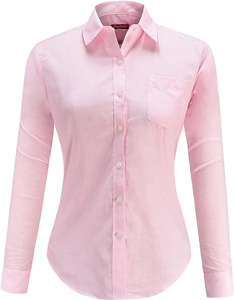 Dioufond Oxford Camisas para Mujer Botones Camisas de Trabajo