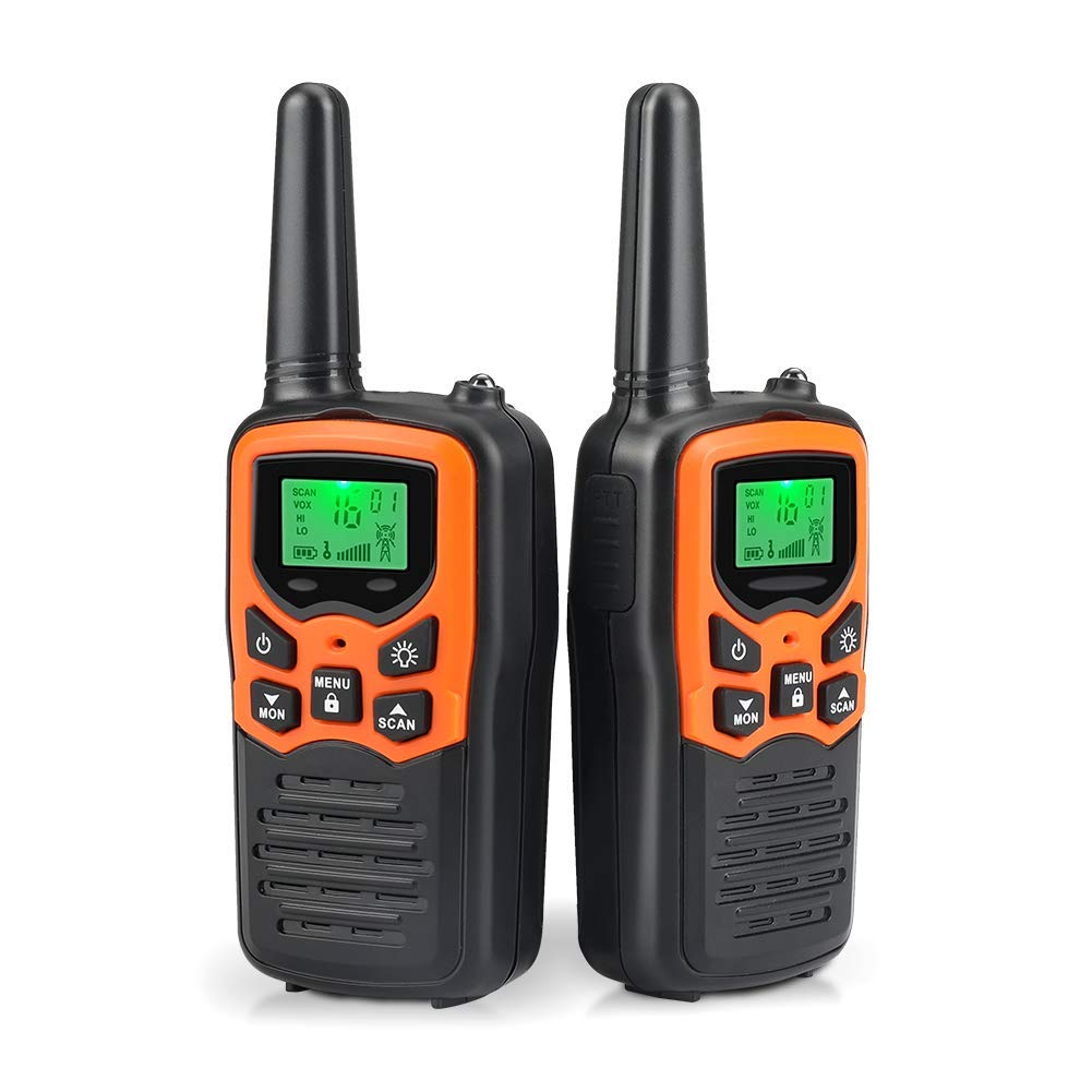 Walkie Talkies Long Range for Adults Two-Way Radios Up to 5 Miles in Open Fields 22 Channels FRS/GMRS VOX Scan LCD Display with LED Flashlight Ideal for Field Survival Biking Hiking Camping(Orange) by MOICO