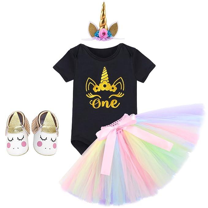 FYMNSI Infant Baby Girl First Birthday Outfit Glitter Shiny One Print Cotton Short Sleeve Romper Princess Crown Headband 3pcs Cake Smash Set Photo Props Tutu Tulle Skirt