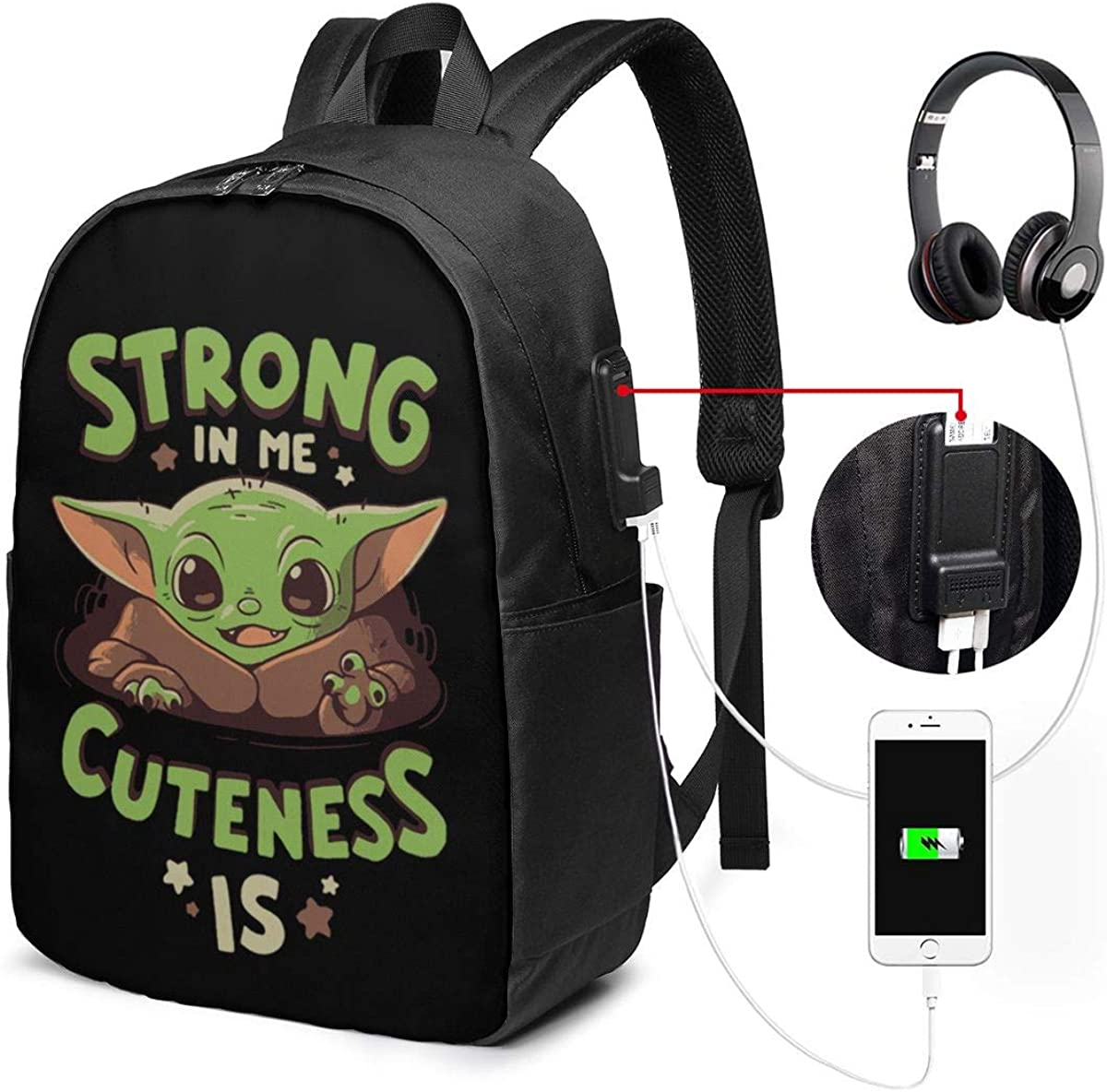 Cute Baby Alien Strong in Me Cuteness is 17in Travel Backpack USB Charging Port, College School Bookbag Laptop Backpack