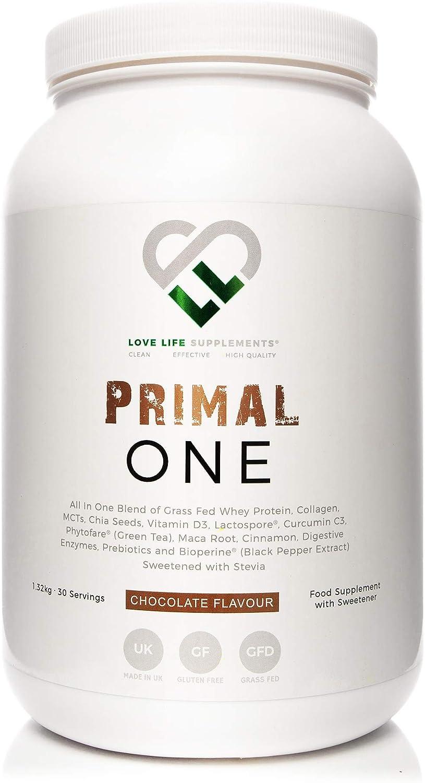 LLS Primal One | Concentrado de Proteína de Suero Fed Grass | Agitar con Triglicéridos de Cadena Media (MCT) de Coco | Colágeno | Mezclado con ...