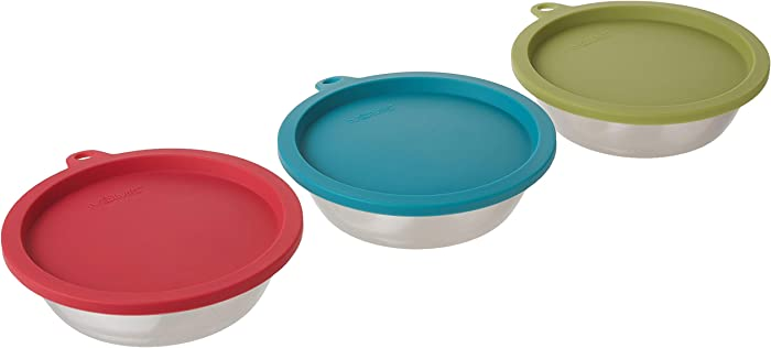 Messy Mutts 6pc Set with Three Stainless Steel Bowls and Three Silicone Lids