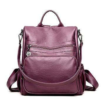 Shisky Mochila de Cuero para Mujer,Mujer Mujer de Mediana Edad Bolso Multifuncional un Hombro Bolso de Mano 30x15x32cm: Amazon.es: Hogar