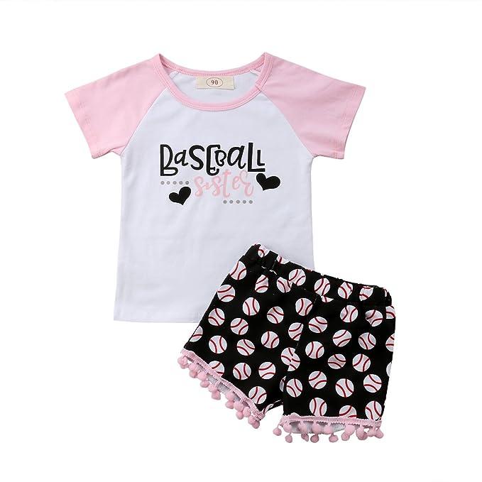c0885d98b Newborn Toddler Baby Girl Outfits Clothes Baseball Sister Print Short Sleeve  T-Shirt Tops +