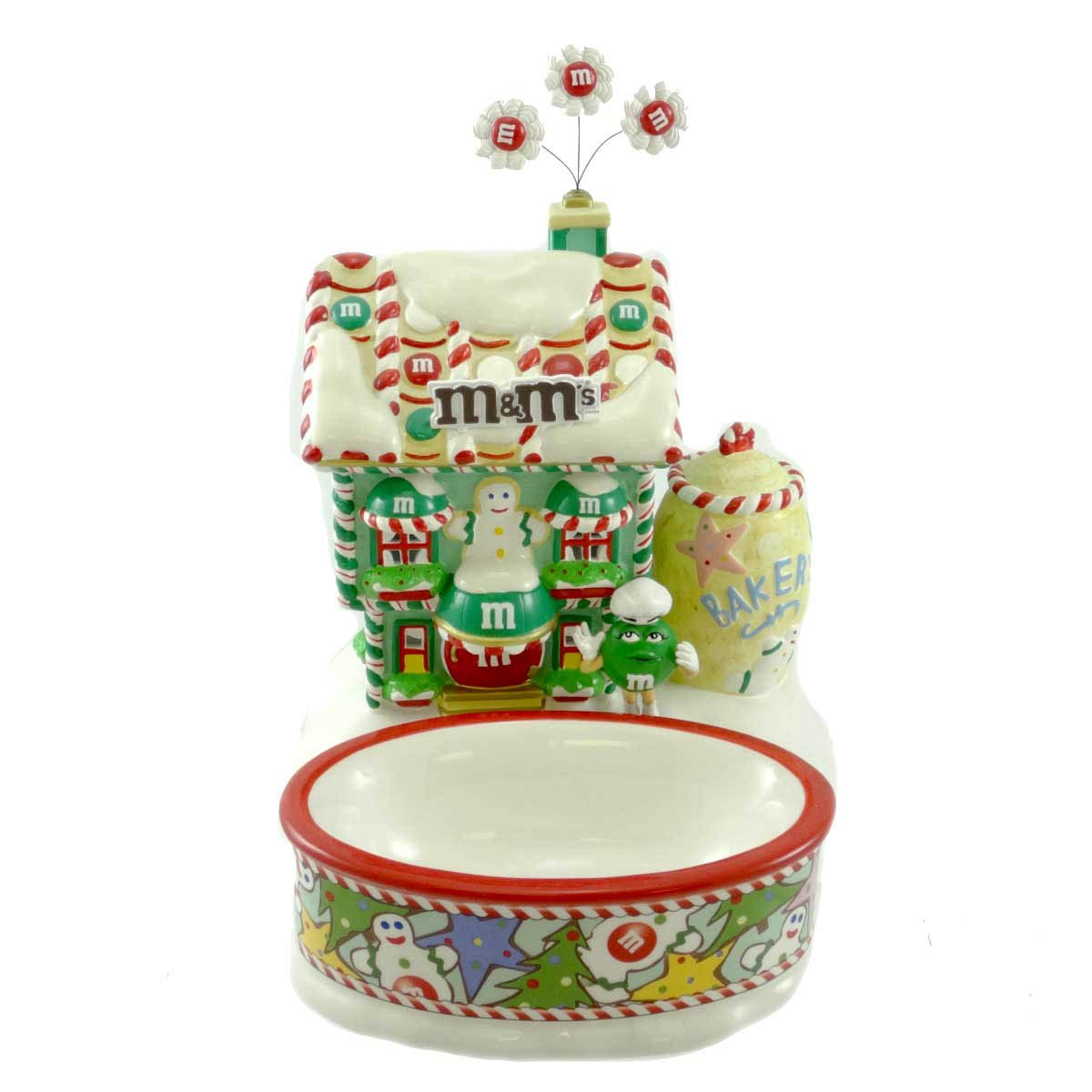 Dept 56 Accessories Christmas Bakery W/ Candy Dish Explore The New World M&Ms - Ceramic 6.50 IN