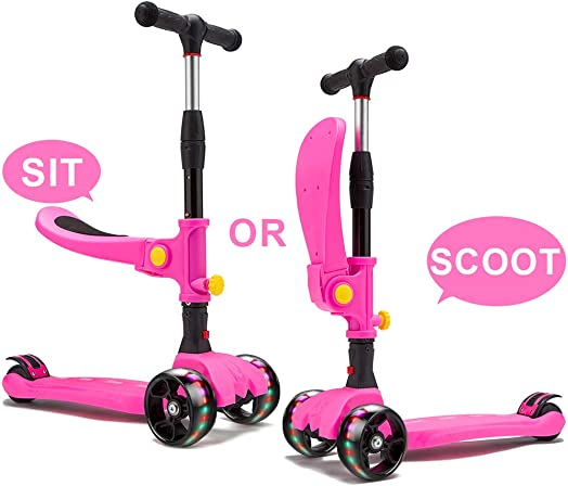 KAMURES 2-in-1 3 Wheels Kick Scooter with Folding Seat for Kids Toddlers, 3 Adjustable Height Kids Scooter with Extra-Wide PU Flashing Wheels, Fun Outdoor Toys, Best Birthday Gift for Ages 2-10