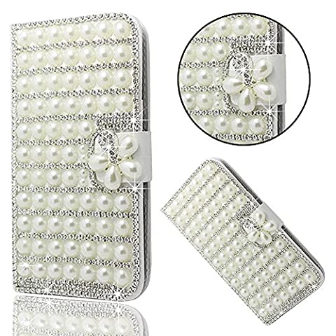 ZTE Grand X Max 2 Case Luxury, ZMax Pro Case Cover, Bonice Glitter Bling Diamonds Handmade Stand View PU Leather Folio Flip & Card Slots Holder Diamond Wallet Case - (Zte Zmax Phone Cases With Pearls)