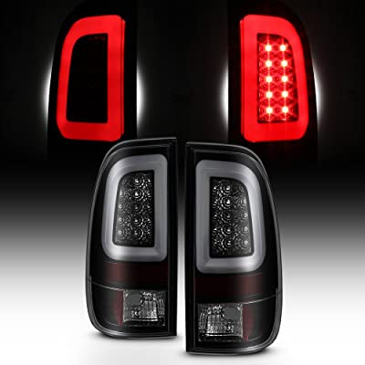[LED Tube] For Black Smoked 1997-2003 F150 | 1999-2007 F250 F350 F450 F550 SuperDuty Tail Lights Brake Lamps Pair: Automotive