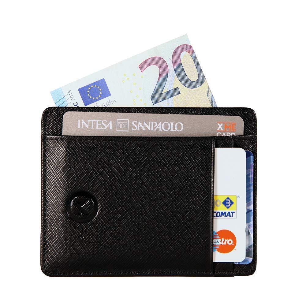 OMTEK Portafoglio Uomo Porta Carte di Credito RFID Porta Tessere Sottile in Pelle PU Premium Schermato 6 Tasche Carte//Bancomat 1 Tasca Porta Banconote Regalo Perfetto per gli Uomini
