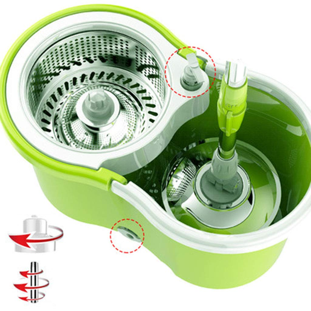 8L回転モップとバケットセット360度フットペダル、1つのマイクロファイバーモップパッド付きモップクリーニング (色 : Green+plastic plate+3) B07KS3NVLL Green+plastic plate+3