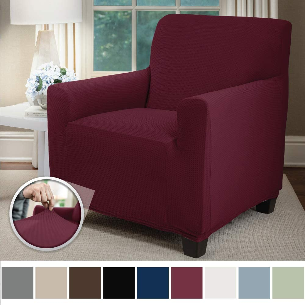 Sofa Shield Original Fitted 1 Piece Chair Protector, Seat Width up to 23 Inch, Stretch Furniture Slipcover, Fastener Straps, Spandex Chair Slip Cover Throw for Pets, Dogs, Armchair, Burgundy: Home & Kitchen
