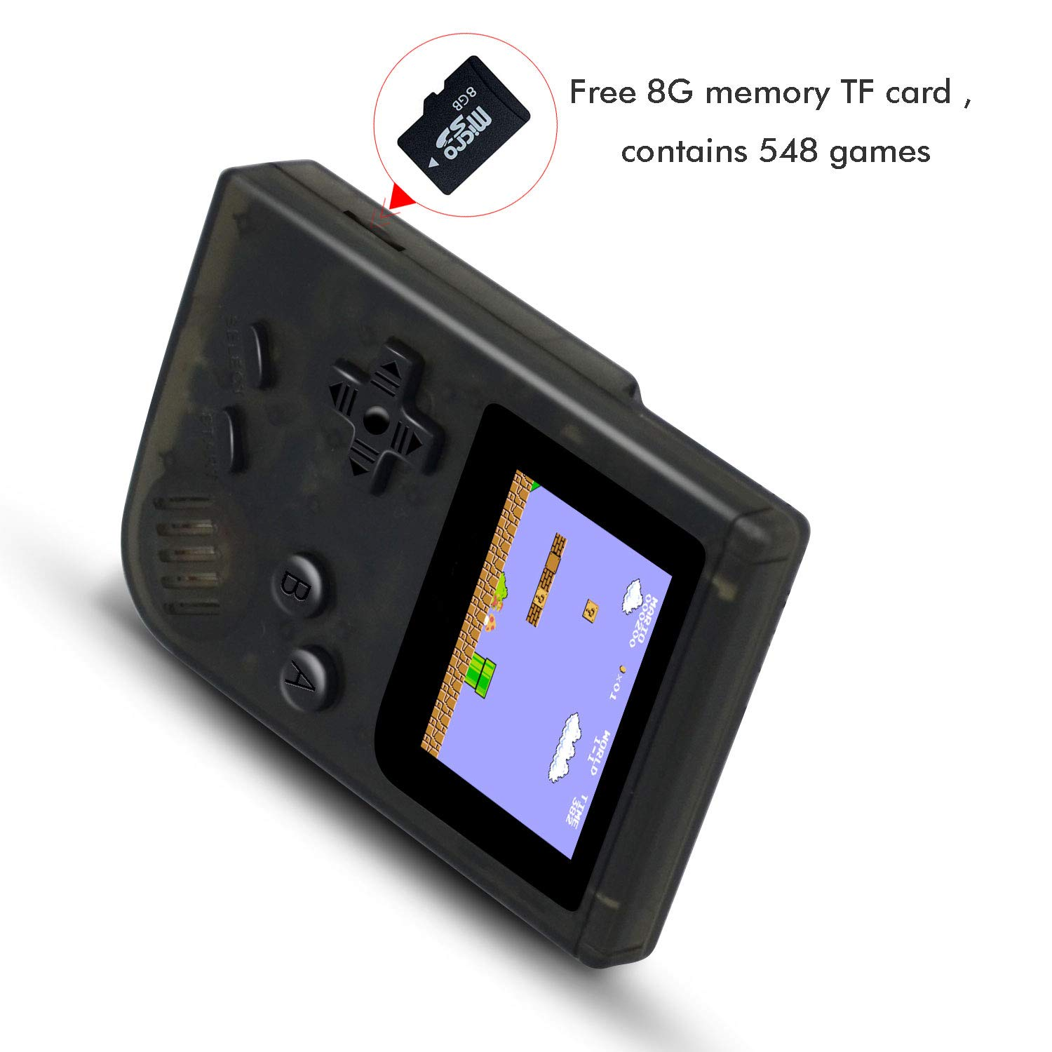 MJKJ Handheld Game Console , Retro Game Console 2 Inch HD Screen 548 Classic GBA Games , Birthday Presents for Children - Transparent Black by MJKJ (Image #4)
