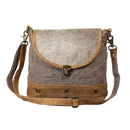 d8e320caeb Amazon.com  Myra Bag Roan Upcycled Canvas   Cowhide Leather Messenger Bag  S-1207  Computers   Accessories