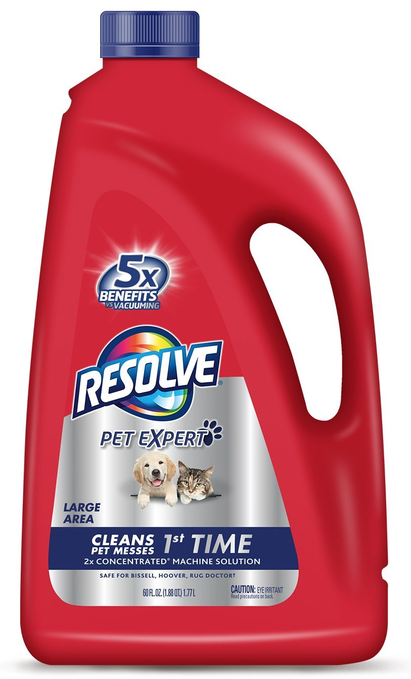 Resolve Pet Carpet Steam Cleaner Solution, 60 fl oz Bottle, 2X Concentrate (Pack of 2)
