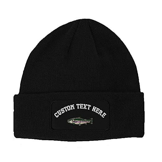1d422356ff827 Custom Text Embroidered Fish Rainbow Trout Unisex Adult Acrylic Double  Layer Patch Beanie Skully Hat -